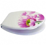 Novelty Pink Flower Effect Toilet Seat - Chrome Hinge - 02000006